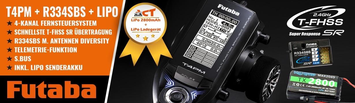 FUTABA T4PM 2.4GHz T-FHSS-SR + R334SBS + LiPo 2800mAh + Lade