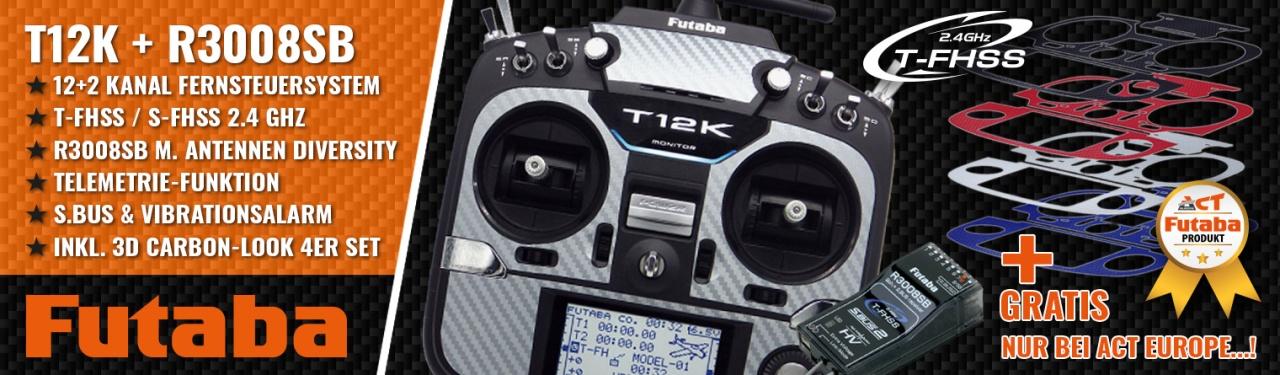 FUTABA T12K 2.4GHz + R3008SB M2 + 3D Carbon-Look 4er Set