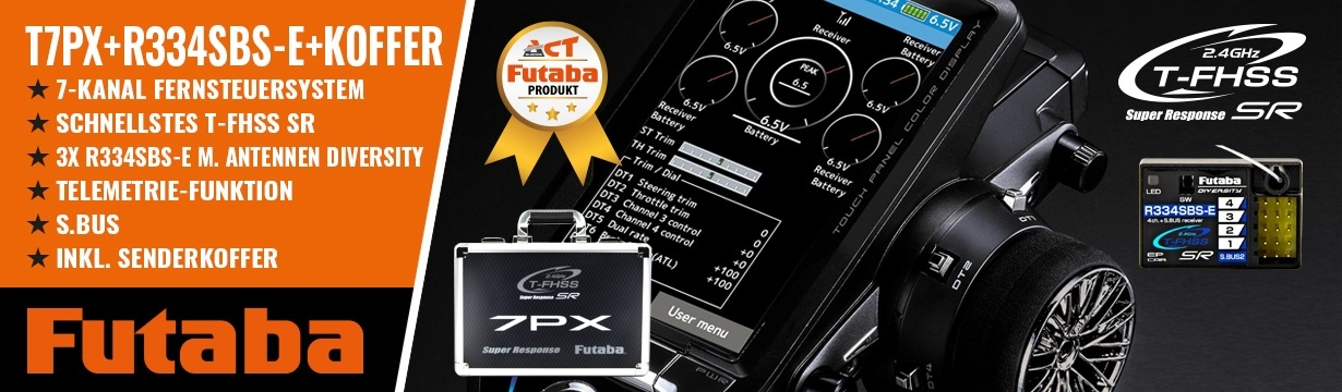 FUTABA T7PX 2.4GHz + R334SBS-E + Senderkoffer T7PX