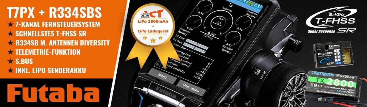 FUTABA T7PX 2.4GHz + R334SBS+LiPo 2800mAh+LiPo Lader