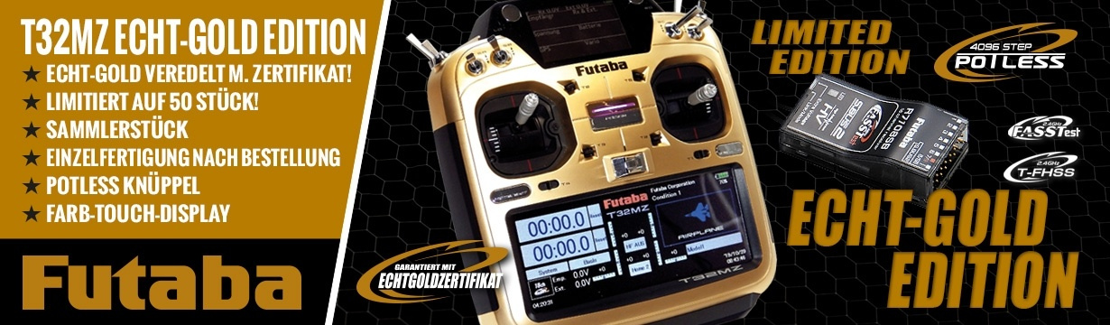 FUTABA T32MZ Potless ECHT-GOLD EDITION 2.4GHz + R7108SB